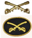 Cavalry Crossed Sabres Insignia Badge Set